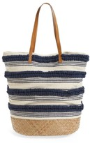 Sole Society Woven Bottom Tote - Blue