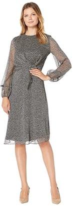 Lauren Ralph Lauren Tie-Waist Georgette Dress (Lauren Navy/Taupe) Women's Dress