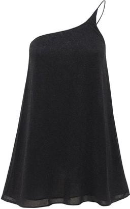 Oseree Lumiere Lurex One Shoulder Mini Dress