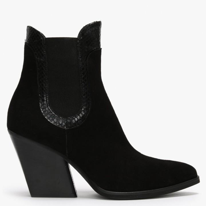 Daniel Void Black Suede Reptile Trim Western Boots