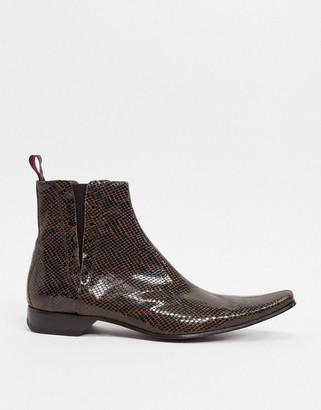 Jeffery West pino chelsea boot in brown snake
