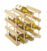 Container Store 12-Bottle Hardwood Wine Rack Natural