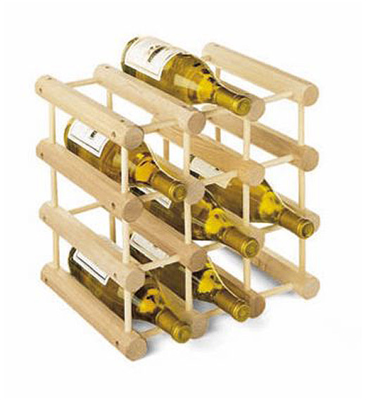Container Store 40-Bottle Hardwood Wine Rack Natural