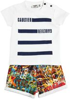 Junior Gaultier Cotton Jersey T-Shirts & Sweat Shorts