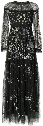 Needle & Thread Sequin-Embellished Tiered Dress