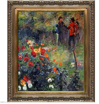 "La Pastiche by Overstockart Garden in The Rue Cortot Montmartre by Pierre-Auguste Renoir with Baroque Antique-like Frame Oil Painting Wall Art, 29.5"" x 25.5"""