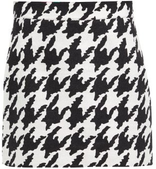 Elzinga - Houndstooth-jacquard Mini Skirt - Black White