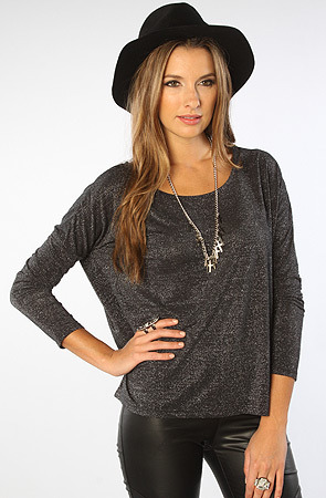 MinkPink The Glimmer Metallic Tee in Black and Silver
