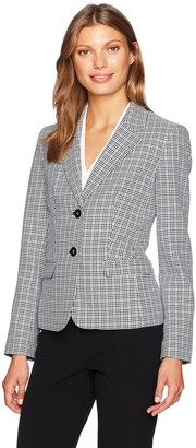 Nine West Women's 2 Button Piped Mini Houndstooth Jacket