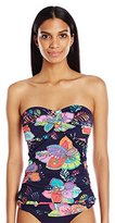 Anne Cole Women's Navy Paisley Print Twist Front Shirred Bandeau Tankini Top