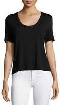 Alexander Wang Classic Cropped Tee w/ Pocket, Black