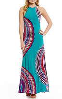 Moa Moa Printed High-Neck Lattice-Back Maxi Dress