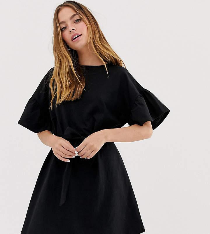 DESIGN Petite slub mini dress with frill sleeve and belt