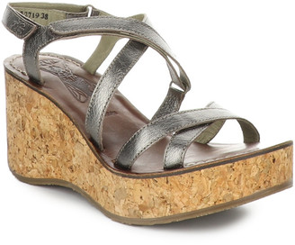 Fly London Gope Leather Comfort Wedge Sandal
