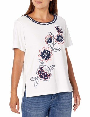 Alfred Dunner Women's Diagonal Dot Floral Top