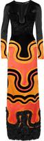 Tom Ford Fringed silk-satin and velvet gown