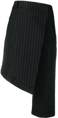 Delada Asymmetric Pinstripe Shorts