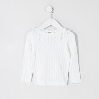 River Island Mini girls White flower embellish knit top