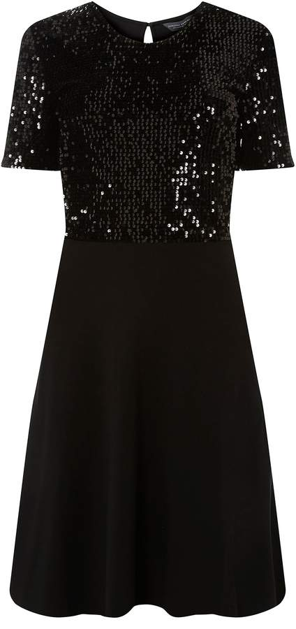 Dorothy Perkins Womens **Tall Black Sequin Fit And Flare Dress