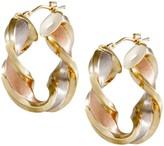 """Arte D'oro Arte d'Oro 1-1/4"""" Satin & Polished Twist Hoop Earrings, 18K"""