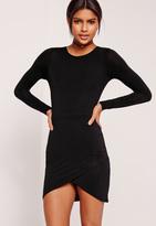 Missguided Petite Asymmetric Hem Jersey Dress Black