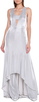 Akris Metallic High-Low Hem Gown