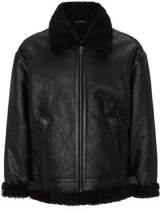 Vetements Anarchy Print Shearling Leather Jacket