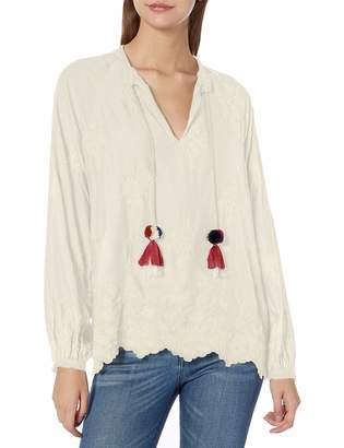 For Love and Liberty Love & Liberty Women's Rayon Tonal Embroidered Peasant Blouse