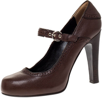 Dolce & Gabbana Brown Leather Brogue Detail Mary Jane Pumps Size 39