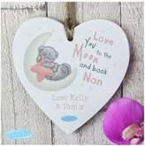 Tiny Tatty Teddy Tiny Tatty Teddy Pink Moon & Back Wooden Hanging Heart