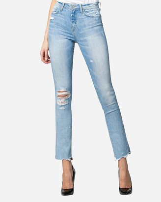 Express Flying Monkey High Waisted Raw Hem Straight Jeans