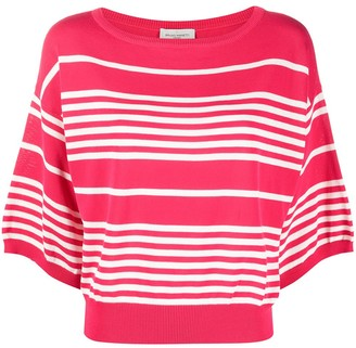 Bruno Manetti Stripe-Print Wide-Neck Knitted Top