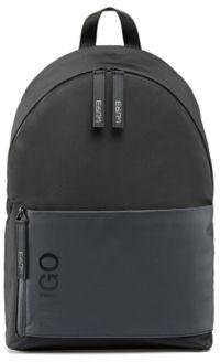 HUGO BOSS Structured Nylon Backpack With New Season Logo Details - Black