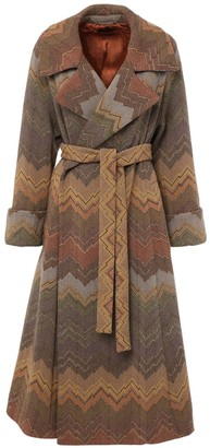 Missoni Jacquard Belted Wool Blend Coat