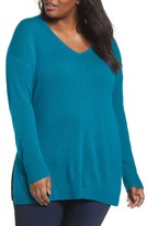 Sejour Plus Size Women's Easy V-Neck Wool & Cashmere Pullover