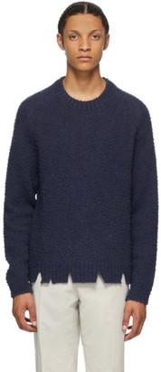Maison Margiela Navy Wool Oversized Destroyed Sweater