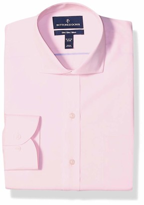 "Buttoned Down Slim Fit Cutaway Collar Solid Non-Iron Dress Shirt Light Pink/Pockets 17.5"" Neck 36"" Sleeve"