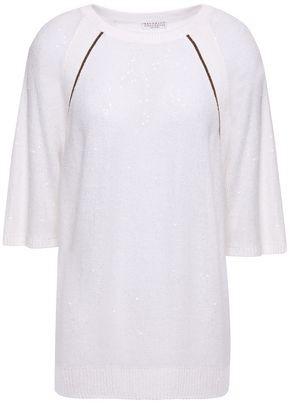 Brunello Cucinelli Bead-embellished Linen And Silk-blend Sweater