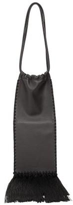 Jil Sander Fringed Leather Shoulder Bag - Black