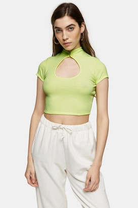 Topshop Womens Green Ribbed Cut Out Crop Top - Green
