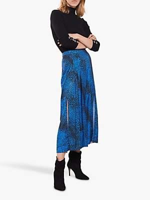 Mint Velvet Elora Print Pleated Midi Skirt, Blue/Multi