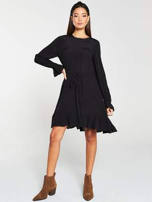 Very Channel Waist Ruffle Hem Dress - Black