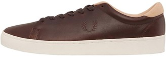 Fred Perry Mens Spencer Premium Leather Trainers Dark Chocolate