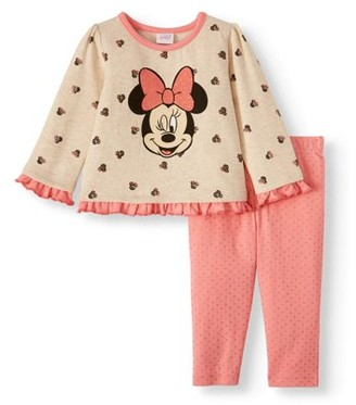Minnie Mouse Disney Baby Girl Printed Ruffle Fleece Top and Leggings, 2pc Outfit Set