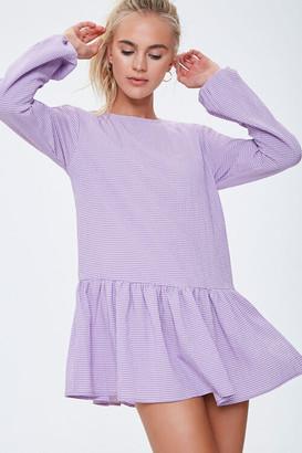 Forever 21 Gingham Peasant Mini Dress