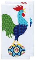 "T-Fal Teal Rooster Print Kitchen Towel (16""x26"