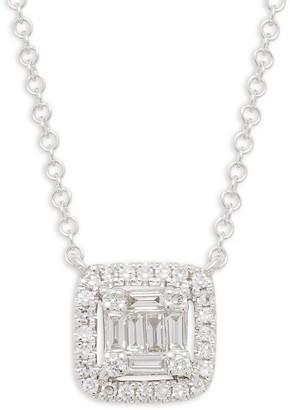 Saks Fifth Avenue 14K White Gold Diamond Square Pendant Necklace