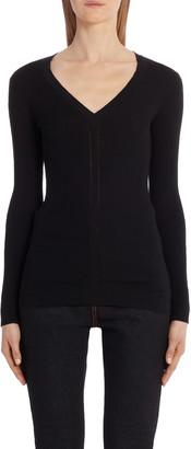 Alexander McQueen Rib V-Neck Wool Sweater