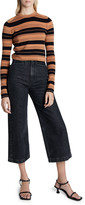 Proenza Schouler White Label Compact Striped Cropped Crewneck Pullover