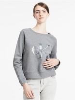 Calvin Klein Jeans Iridescent Logo Cropped Sweatshirt